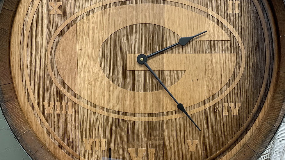 Timeless Etching UGA Barrel Head Clock ***SOLD***
