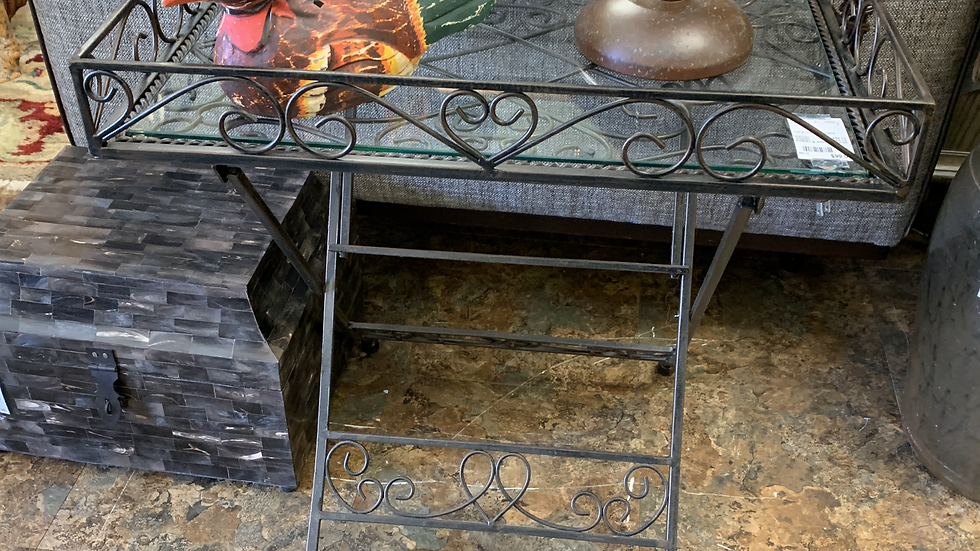 Iron & Glass Tray Table