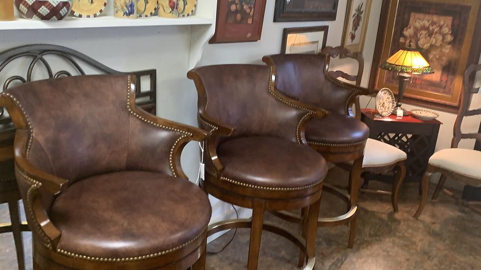 SET of 3 Woodridge Furniture Swivel Barstools