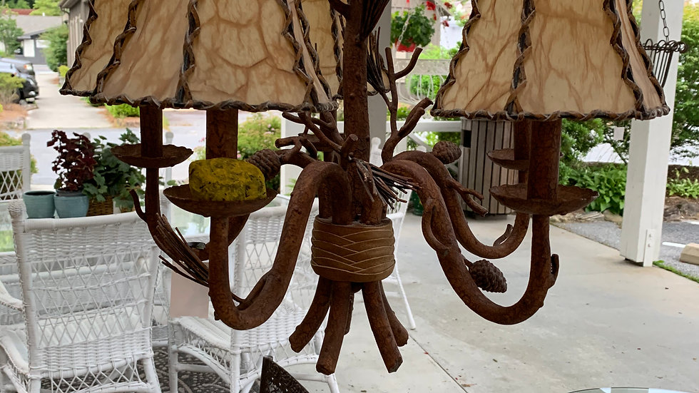 Rustic Pinecone Chandelier ***SOLD***