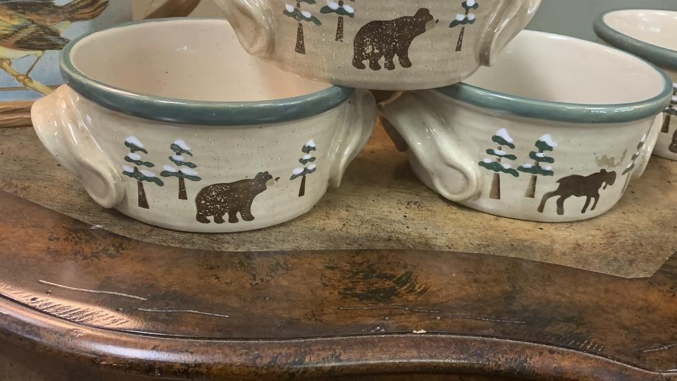 SET/4 Sonoman Bear Bowls