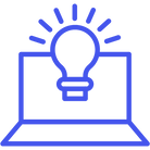 An icon showing a laptop and a lightbulb sympolising an idea