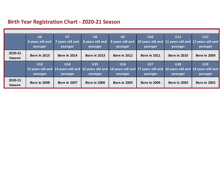 Birth Year Registration Chart - 2020-21