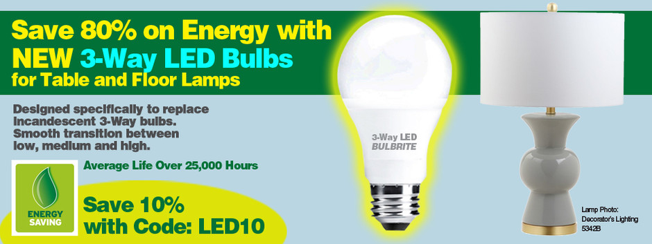 LED Bulbs Now in a 3-Way for your Lamps!