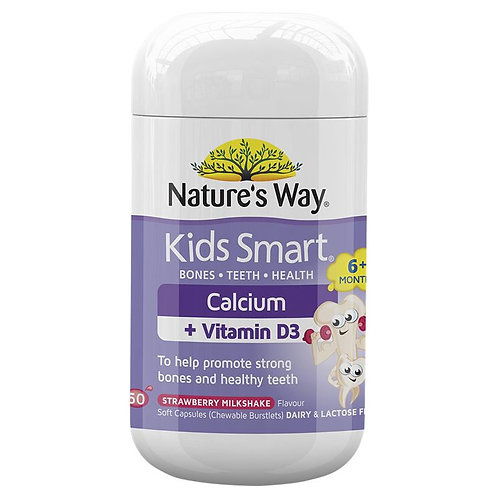 Nature's Way Kids Smart Calcium + Vitamin D 50 Chewable Capsules