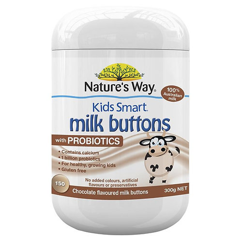 Nature's Way Kids Smart Milk Buttons with Probiotics Chocolate Chewable Buttons