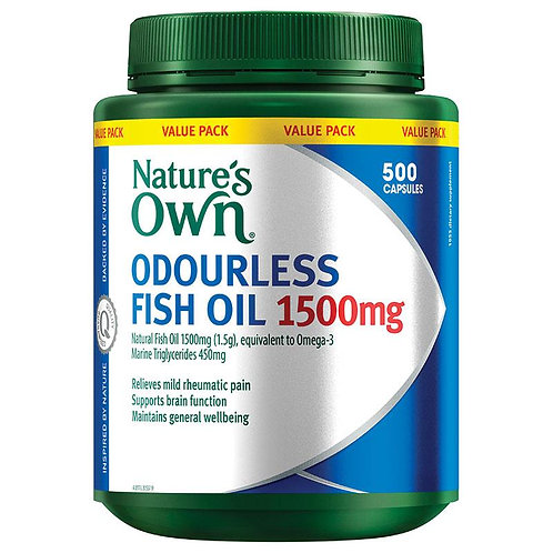 Nature's Own Odourless Fish Oil 1500mg 500 Capsules Exclusive Size