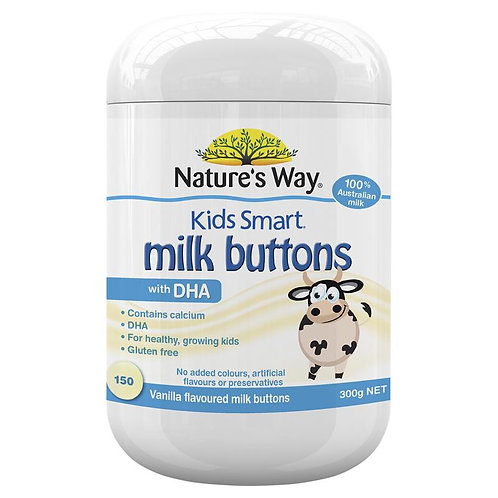Nature's Way Kids Smart Milk Buttons with DHA Vanilla 150 Chewable Buttons