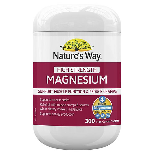 Nature's Way High Strength Magnesium 600mg 300 Tablets Exclusive Size