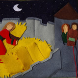 Here is a colourful felt version of Rahab hiding the spies under the straw!