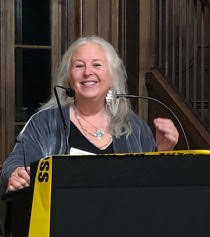 Jane at a speaking event