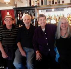Celebrating with Richard Bilodeau, James Hayman, and Brenda Buchanan at the launch of Brenda Buchanan's Joe Gale series