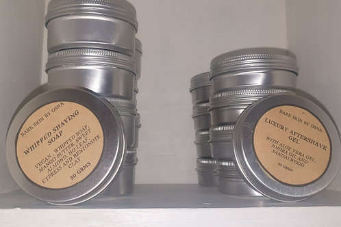 Men's set of whipped shaving soap and aftershave balm