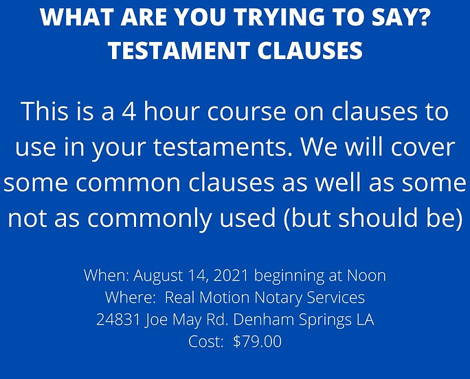 Testamentary Clauses