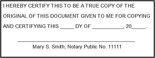 Certified True Copy No. 1004 A Trodat 4913