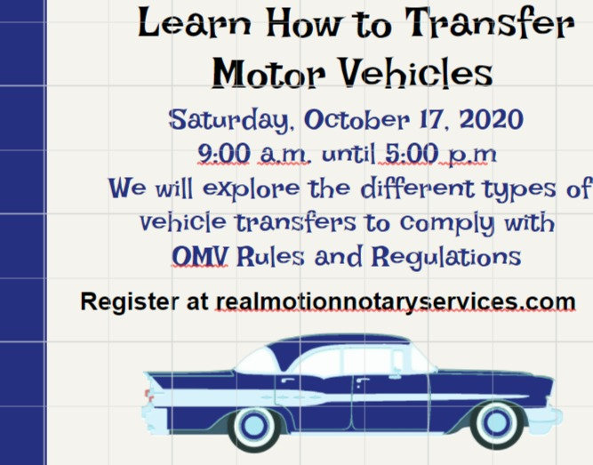 Motor Vehicle Transactions and the OMV