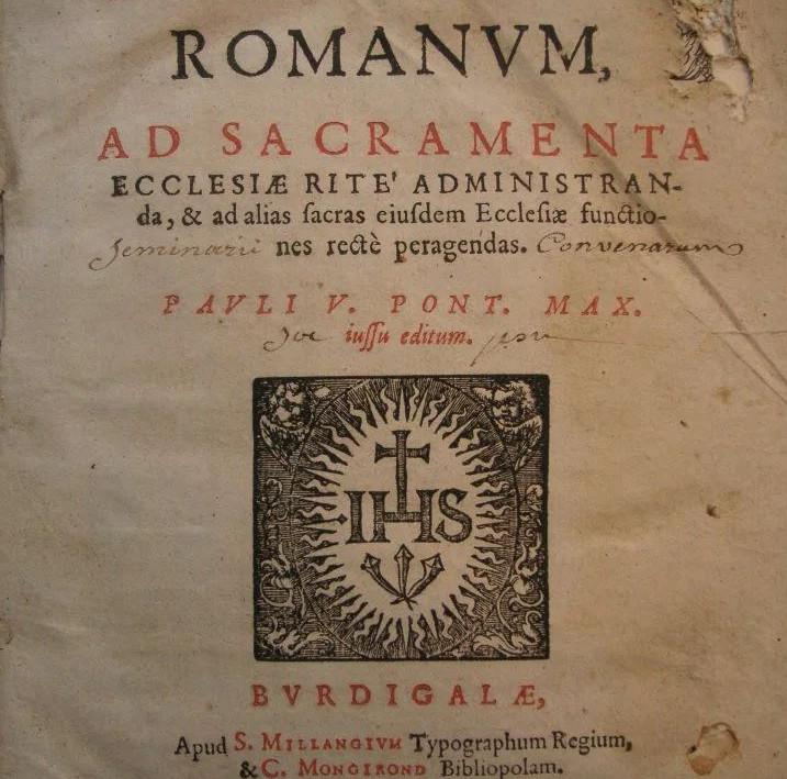 Jesuit rituale Bordeaux 1620 1