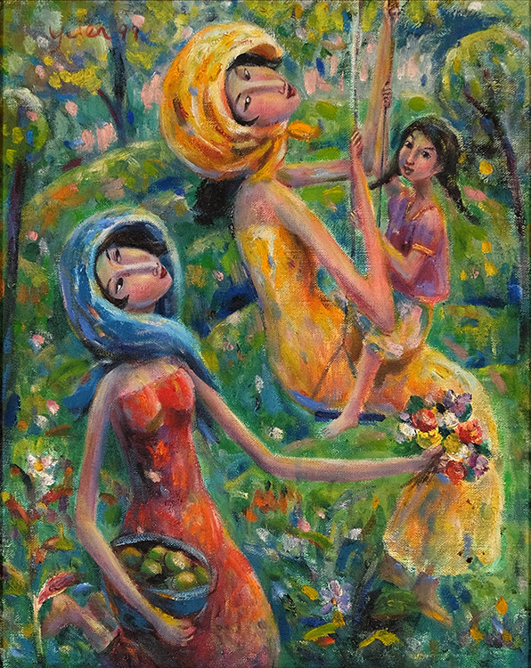 The Swing_39.5 x 49.5cm Oil on Canvas (Y