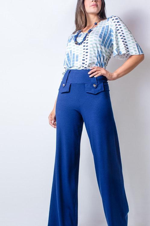 005035 - Calça Canelada Pantalona