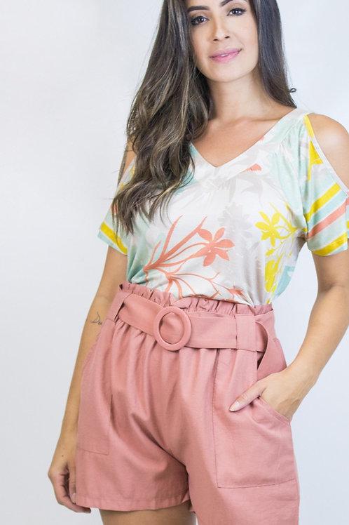 005121 - Shorts Elástico Cinto Bolso