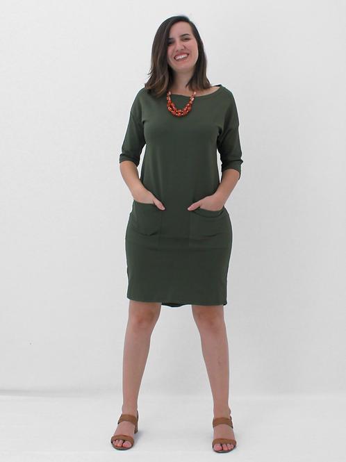 005355 - Vestido Moletinho Bolsos Frt