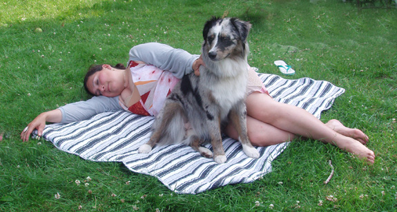Ash and Nisa on Blanket in Yard