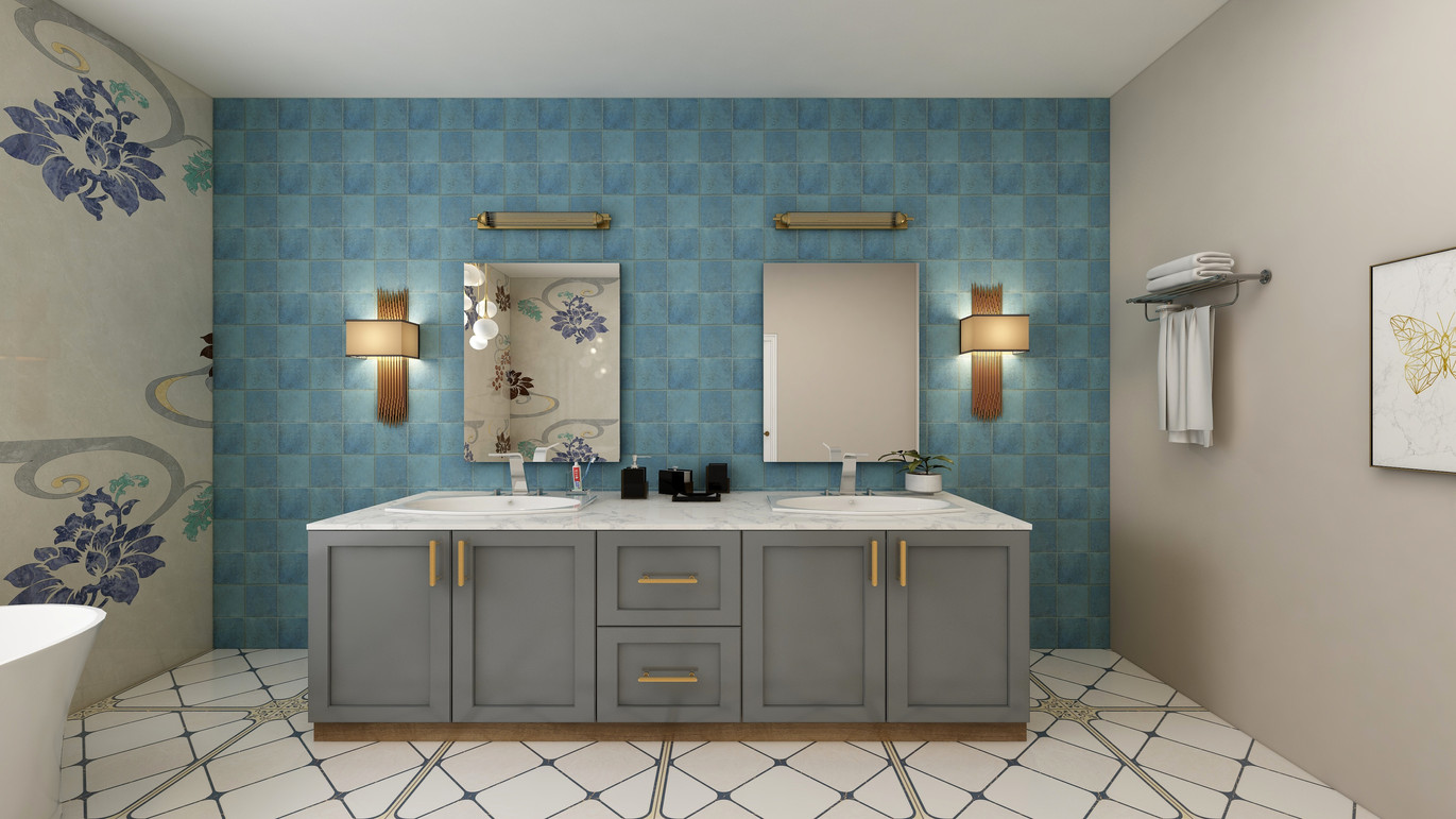 Double vanity with tiled wall and mosaics with blue background.