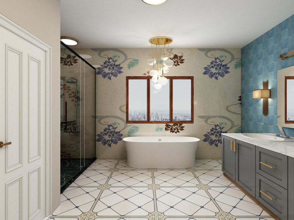 Master bath with mosaics and tiled walls