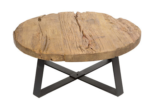 Trunk Round Coffee Table Distressed Wood