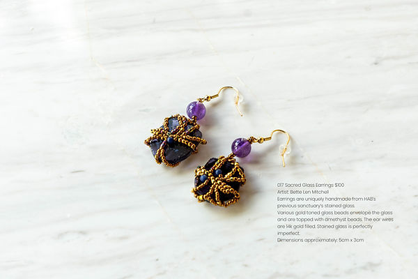 017 Sacred Glass Earrings 14k gold fille