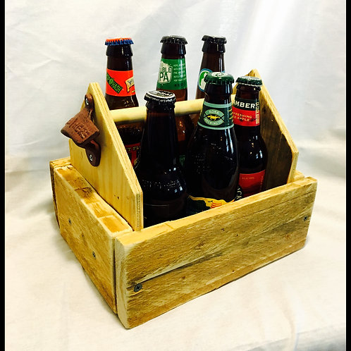 Repurposed Wood 6 Pack Holder with Bottle Opener