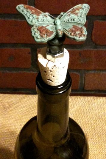 Aqua Metal Butterfly Wine Stopper