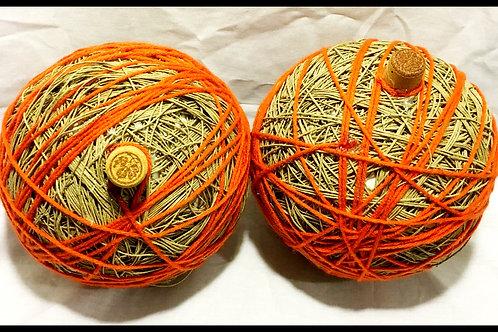 Orange and Beige Twine Pumpkin (assorted sizes)