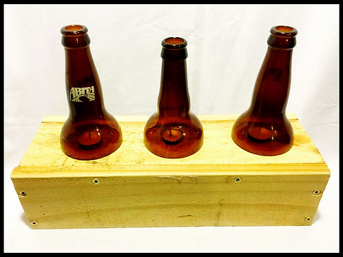 Repurposed Wood Candle Holder w/ 3 Beer Bottle Top