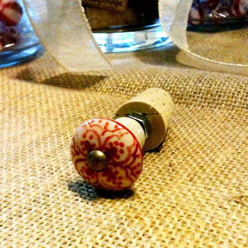Red and Beige Glass Wine Stopper
