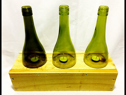 Repurposed Wood Candle Holder w/ 3 WIne Bottles