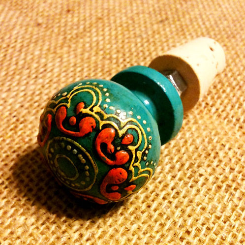 Painted Wood Wine Stopper