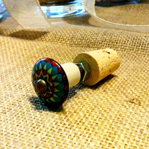 Blue Red and Green Glass Knob Wine Stopper