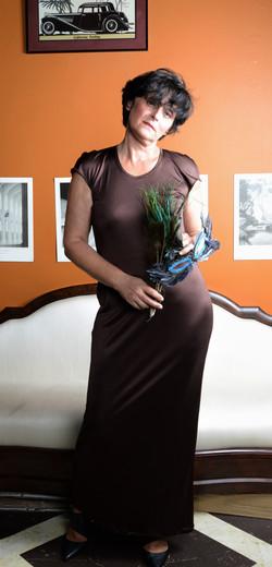 Brown Silk Jersey Dress