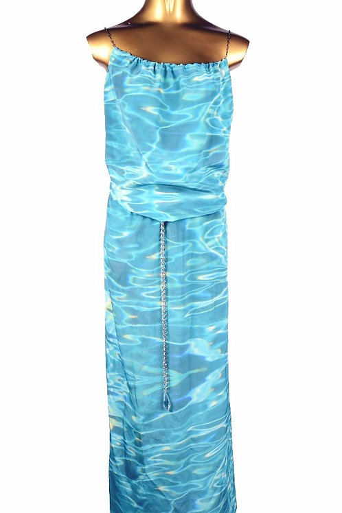 Water Print Silk Slip Dress