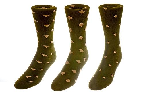Olive Green Geometry Socks