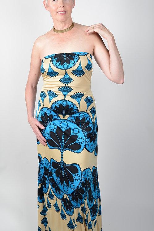 Ankara Strapless Silk Jersey Dress