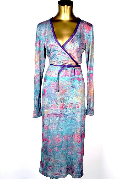 Abstraction Teal Wrap Dress