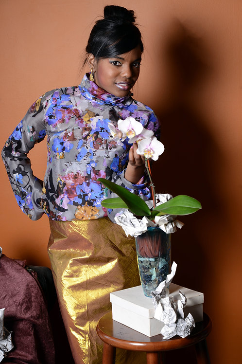 Floral Silk Mock Turtleneck Blouse