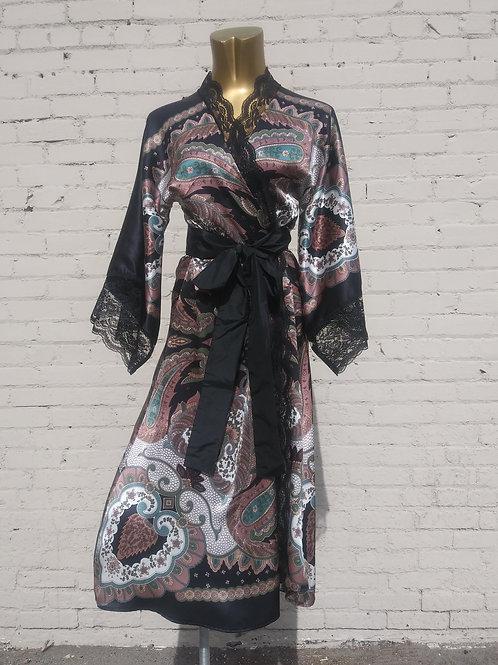Scheherazade Silk Robe with Lace Trim
