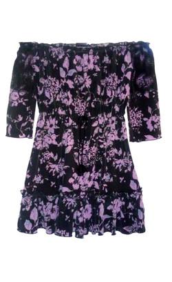 Silk Floral Print Babydoll Dress