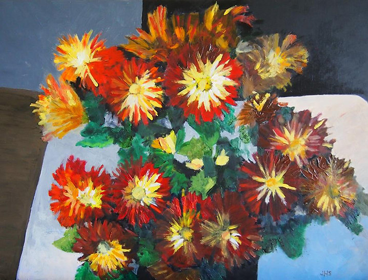 Red & Yellow Potted Mums, Table - Painti