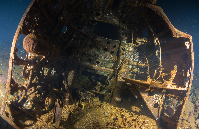 inside one of the Mitsubishi Zero Fighter Aircraft onboard the Fujikawa Maru