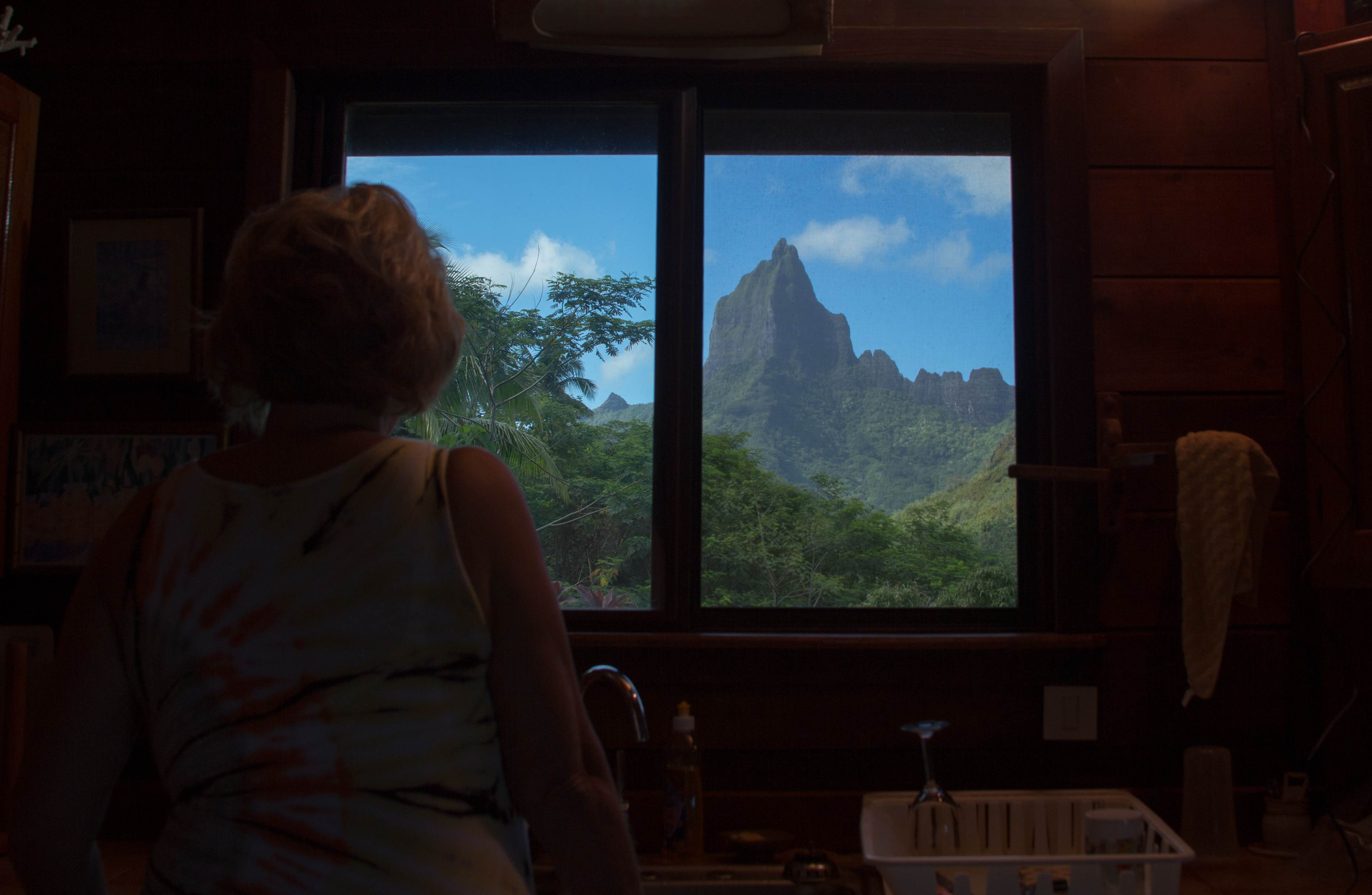 Mom's view while doing dishes at our Moorea rental house