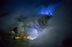 Blue Fire at Ijen Volcano
